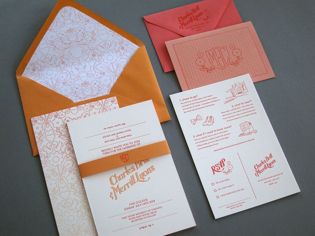Letterpress Ombre Wedding Invitation from Thomas-Printers