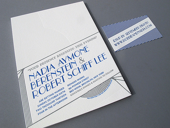 nadia robert deco wedding invitations thomas printers