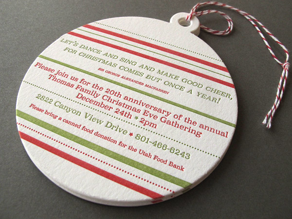 die-cut Letterpress Christmas Ornament