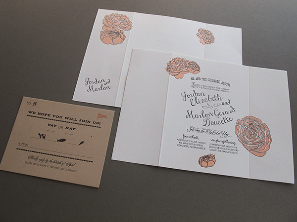 gatefold letterpress invitation suite