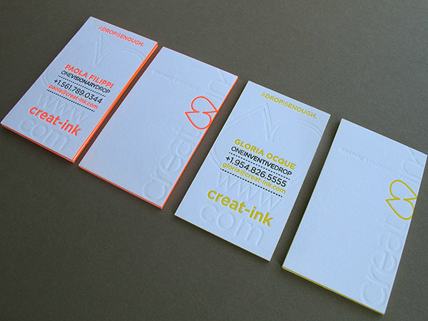Neon Letterpress Business Card