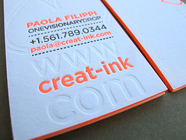 Letterpress Business Card edge painting