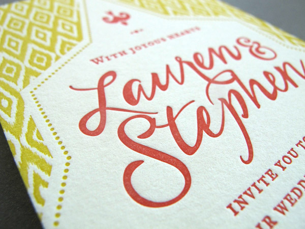 letterpress wedding invitations pattern detail