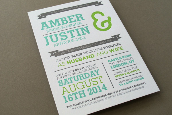 Utah letterpress wedding invitation
