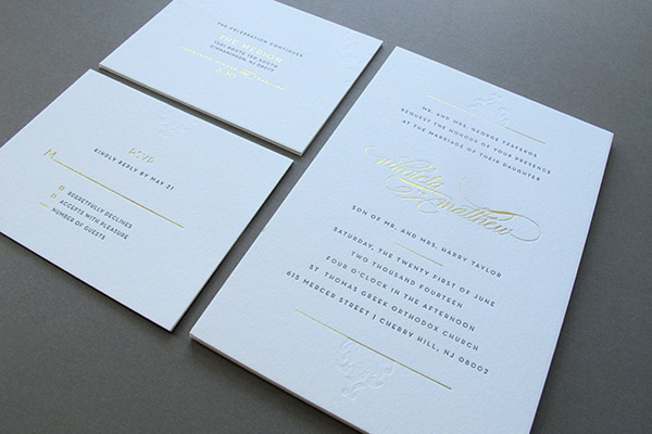 Blind deboss gold foil wedding invitation