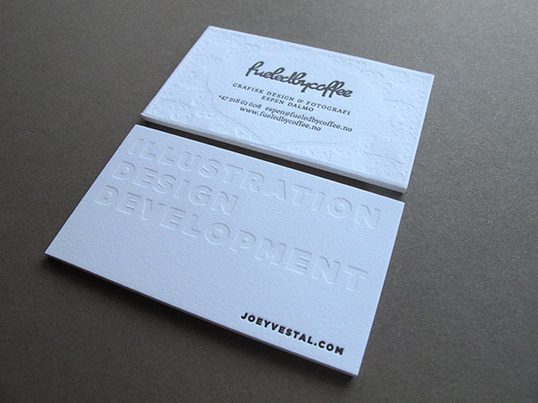 Blind-debossed business cards