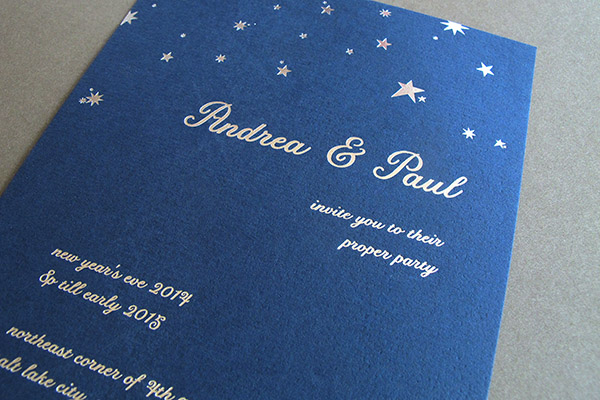 Letterpress Party Invitation on Blue Paper