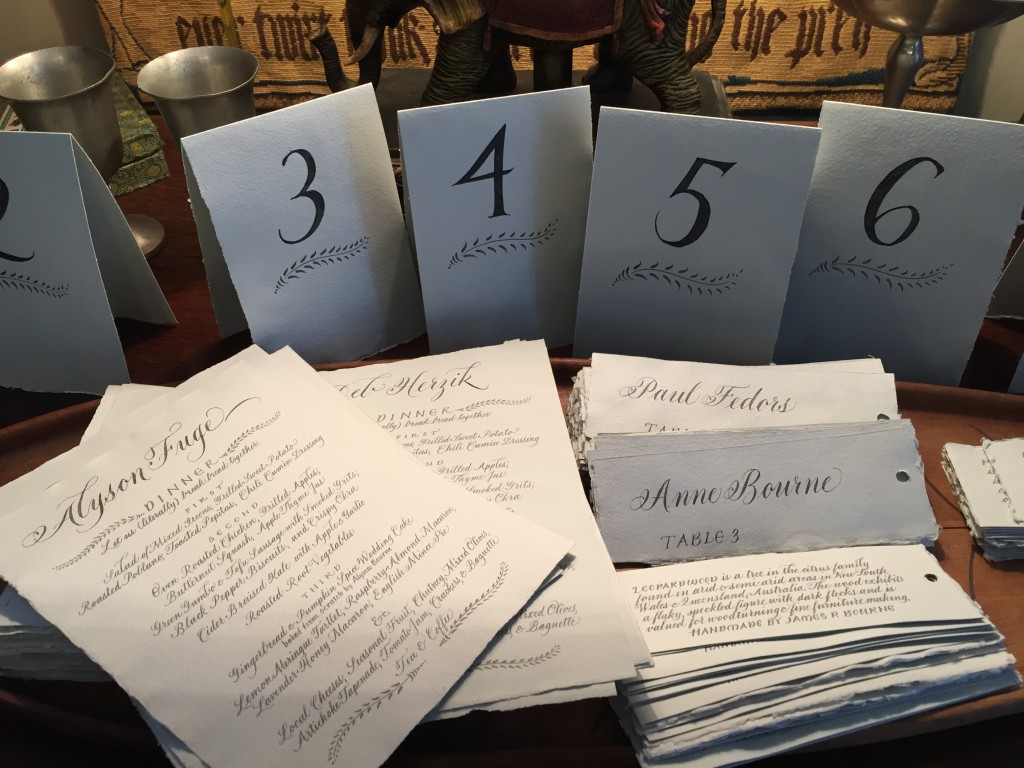 calligraphy table numbers and escort cards