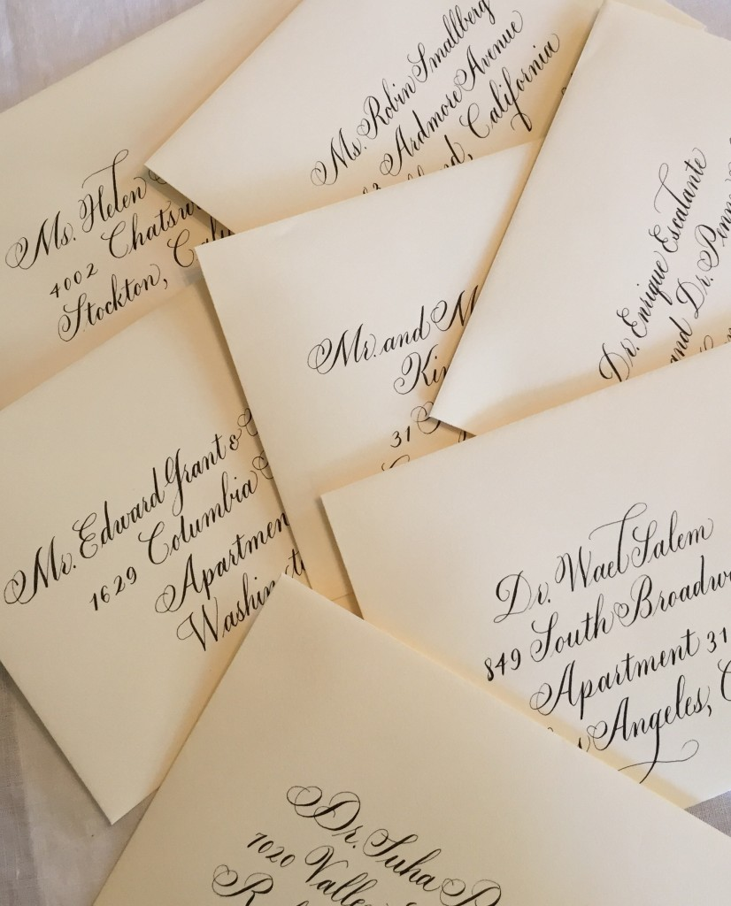 Calligraphy addresses on envelopes