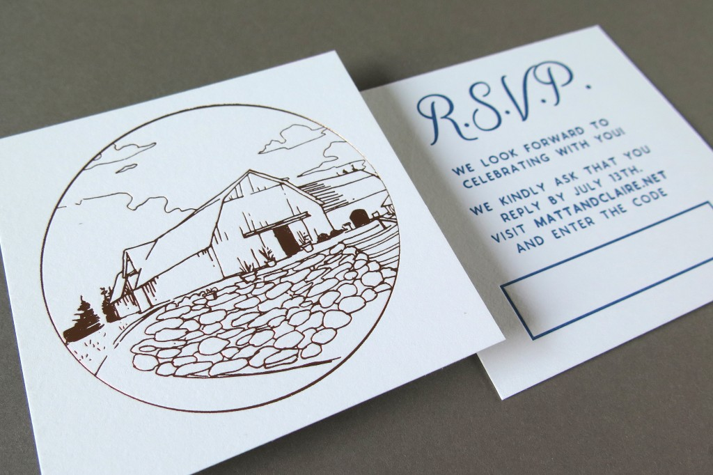 barn wedding rsvp card